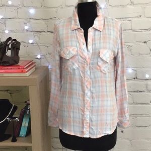 Rails Pink/Blue Plaid Button Up Shirt Size S